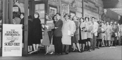 Theatergoers line-up at the Majestic Theatre box-offce 1947
