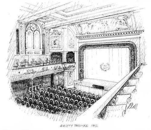 Sketch of Gaiety Theatre proscenium